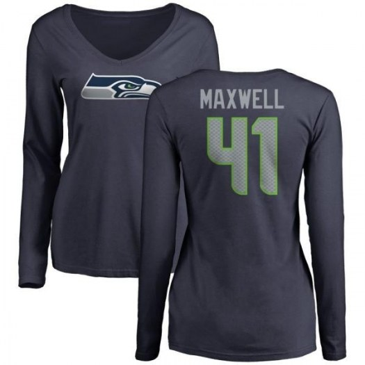Byron Maxwell Seattle Seahawks Women's Navy Any Name & Number Logo Slim Fit Long Sleeve T-Shirt -