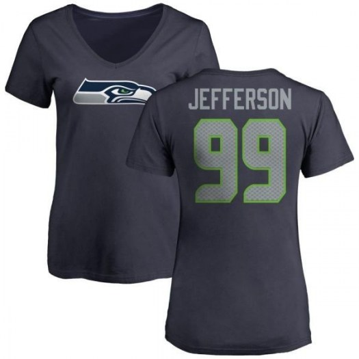 Quinton Jefferson Seattle Seahawks Women's Navy Pro Line Any Name & Number Logo Slim Fit T-Shirt -