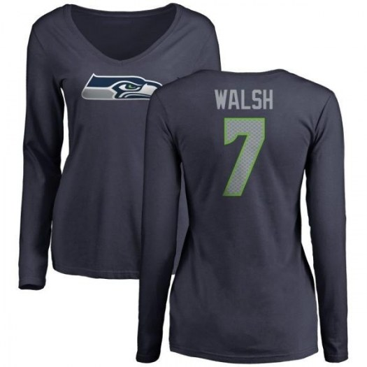 Blair Walsh Seattle Seahawks Women's Navy Any Name & Number Logo Slim Fit Long Sleeve T-Shirt -