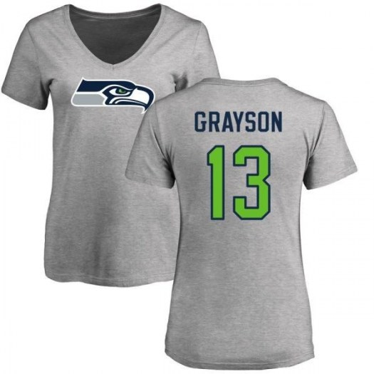 Cyril Grayson Seattle Seahawks Women's Gray Pro Line Name & Number Logo Slim Fit T-Shirt - Ash